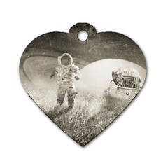 Astronaut Space Travel Space Dog Tag Heart (one Side) by Simbadda