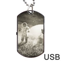 Astronaut Space Travel Space Dog Tag Usb Flash (two Sides) by Simbadda