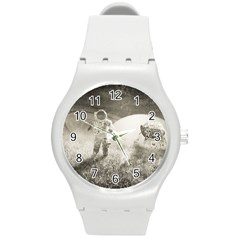 Astronaut Space Travel Space Round Plastic Sport Watch (m) by Simbadda