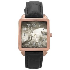 Astronaut Space Travel Space Rose Gold Leather Watch  by Simbadda