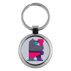 Strong Bear Animals Boxing Red Purple Grey Key Chains (round)  by Alisyart