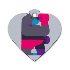 Strong Bear Animals Boxing Red Purple Grey Dog Tag Heart (two Sides) by Alisyart