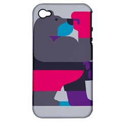 Strong Bear Animals Boxing Red Purple Grey Apple Iphone 4/4s Hardshell Case (pc+silicone) by Alisyart