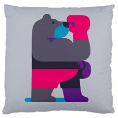 Strong Bear Animals Boxing Red Purple Grey Large Flano Cushion Case (one Side) by Alisyart