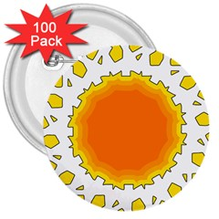 Sun Hot Orange Yrllow Light 3  Buttons (100 Pack)  by Alisyart