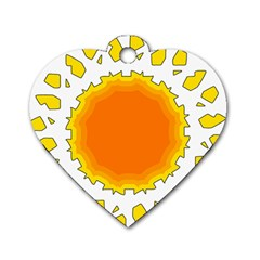 Sun Hot Orange Yrllow Light Dog Tag Heart (one Side) by Alisyart