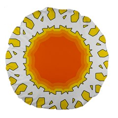 Sun Hot Orange Yrllow Light Large 18  Premium Round Cushions by Alisyart