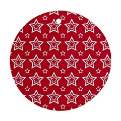 Star Red White Line Space Ornament (round) by Alisyart