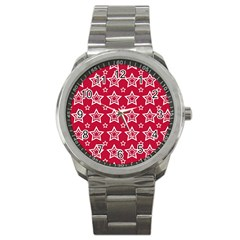 Star Red White Line Space Sport Metal Watch by Alisyart