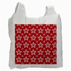 Star Red White Line Space Recycle Bag (two Side)  by Alisyart