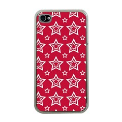 Star Red White Line Space Apple Iphone 4 Case (clear) by Alisyart