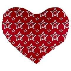 Star Red White Line Space Large 19  Premium Heart Shape Cushions by Alisyart