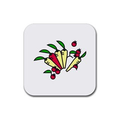Tomatoes Carrots Rubber Coaster (square)  by Alisyart