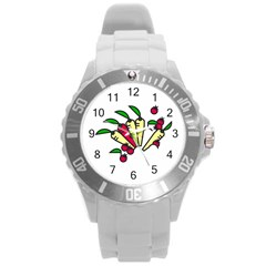 Tomatoes Carrots Round Plastic Sport Watch (l) by Alisyart