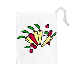 Tomatoes Carrots Drawstring Pouches (large)  by Alisyart