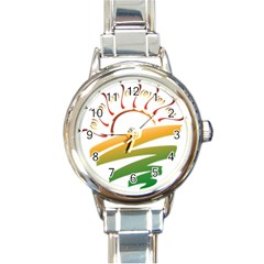 Sunset Spring Graphic Red Gold Orange Green Round Italian Charm Watch by Alisyart