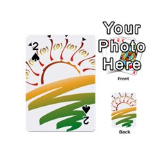 Sunset Spring Graphic Red Gold Orange Green Playing Cards 54 (mini)  by Alisyart