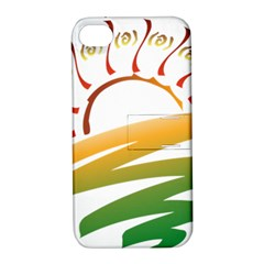 Sunset Spring Graphic Red Gold Orange Green Apple Iphone 4/4s Hardshell Case With Stand by Alisyart