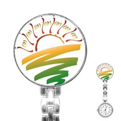 Sunset Spring Graphic Red Gold Orange Green Stainless Steel Nurses Watch by Alisyart