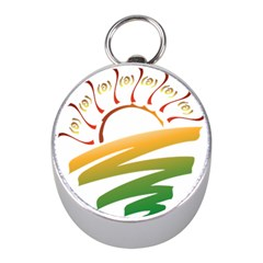 Sunset Spring Graphic Red Gold Orange Green Mini Silver Compasses by Alisyart