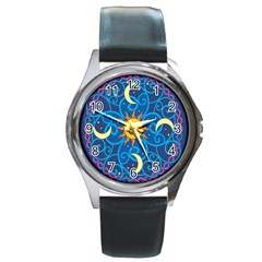 Sun Moon Star Space Purple Pink Blue Yellow Wave Round Metal Watch by Alisyart
