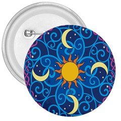Sun Moon Star Space Purple Pink Blue Yellow Wave 3  Buttons by Alisyart
