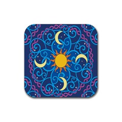 Sun Moon Star Space Purple Pink Blue Yellow Wave Rubber Coaster (square)  by Alisyart