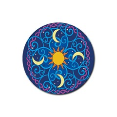Sun Moon Star Space Purple Pink Blue Yellow Wave Rubber Round Coaster (4 Pack)  by Alisyart