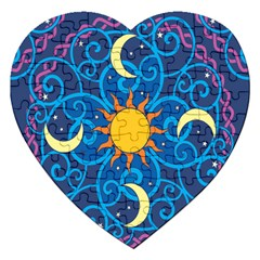 Sun Moon Star Space Purple Pink Blue Yellow Wave Jigsaw Puzzle (heart) by Alisyart