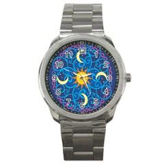 Sun Moon Star Space Purple Pink Blue Yellow Wave Sport Metal Watch by Alisyart