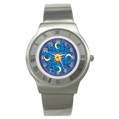 Sun Moon Star Space Purple Pink Blue Yellow Wave Stainless Steel Watch by Alisyart