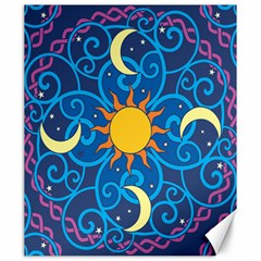 Sun Moon Star Space Purple Pink Blue Yellow Wave Canvas 20  X 24   by Alisyart