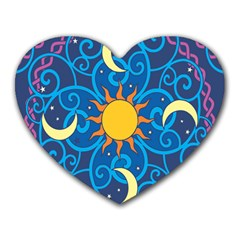 Sun Moon Star Space Purple Pink Blue Yellow Wave Heart Mousepads by Alisyart