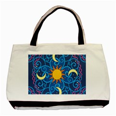 Sun Moon Star Space Purple Pink Blue Yellow Wave Basic Tote Bag (two Sides) by Alisyart