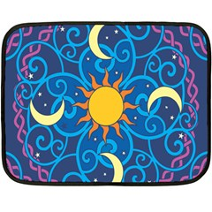 Sun Moon Star Space Purple Pink Blue Yellow Wave Double Sided Fleece Blanket (mini)  by Alisyart