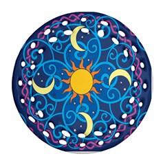 Sun Moon Star Space Purple Pink Blue Yellow Wave Ornament (round Filigree) by Alisyart