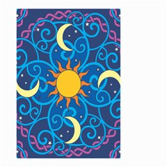 Sun Moon Star Space Purple Pink Blue Yellow Wave Small Garden Flag (two Sides) by Alisyart