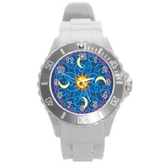 Sun Moon Star Space Purple Pink Blue Yellow Wave Round Plastic Sport Watch (l) by Alisyart