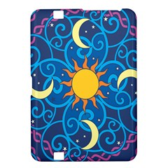 Sun Moon Star Space Purple Pink Blue Yellow Wave Kindle Fire Hd 8 9  by Alisyart