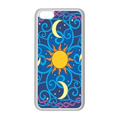 Sun Moon Star Space Purple Pink Blue Yellow Wave Apple Iphone 5c Seamless Case (white) by Alisyart