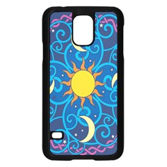 Sun Moon Star Space Purple Pink Blue Yellow Wave Samsung Galaxy S5 Case (black)