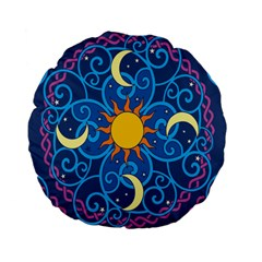 Sun Moon Star Space Purple Pink Blue Yellow Wave Standard 15  Premium Flano Round Cushions by Alisyart