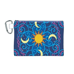 Sun Moon Star Space Purple Pink Blue Yellow Wave Canvas Cosmetic Bag (m) by Alisyart
