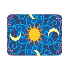 Sun Moon Star Space Purple Pink Blue Yellow Wave Double Sided Flano Blanket (mini)  by Alisyart