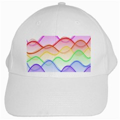 Twizzling Brain Waves Neon Wave Rainbow Color Pink Red Yellow Green Purple Blue White Cap by Alisyart