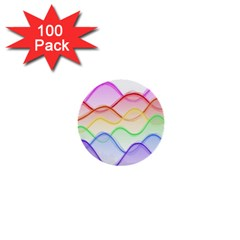 Twizzling Brain Waves Neon Wave Rainbow Color Pink Red Yellow Green Purple Blue 1  Mini Buttons (100 Pack)  by Alisyart