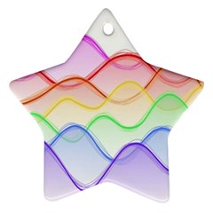Twizzling Brain Waves Neon Wave Rainbow Color Pink Red Yellow Green Purple Blue Star Ornament (two Sides) by Alisyart