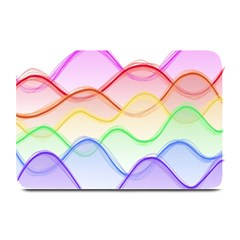 Twizzling Brain Waves Neon Wave Rainbow Color Pink Red Yellow Green Purple Blue Plate Mats by Alisyart