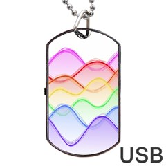 Twizzling Brain Waves Neon Wave Rainbow Color Pink Red Yellow Green Purple Blue Dog Tag Usb Flash (two Sides) by Alisyart