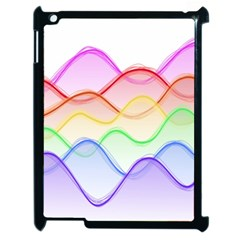 Twizzling Brain Waves Neon Wave Rainbow Color Pink Red Yellow Green Purple Blue Apple Ipad 2 Case (black) by Alisyart